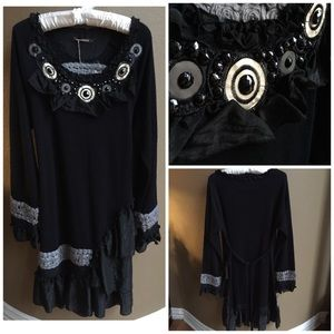 New John Fashion Black Ruffle Hem Tunic Dress L